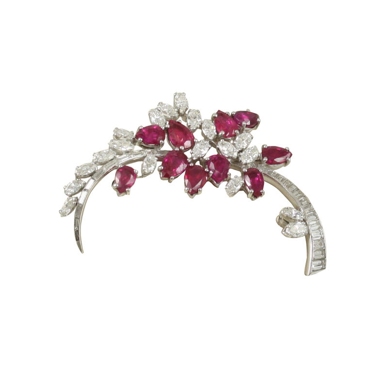 This Platinum Diamond And Ruby Floral Spray Pin Is Feminine And Elegant.