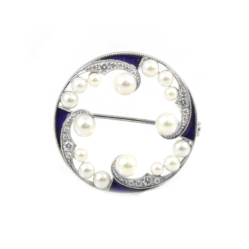 Estate Mikimoto 18K white gold, diamond, pearl and blue enamel brooch.