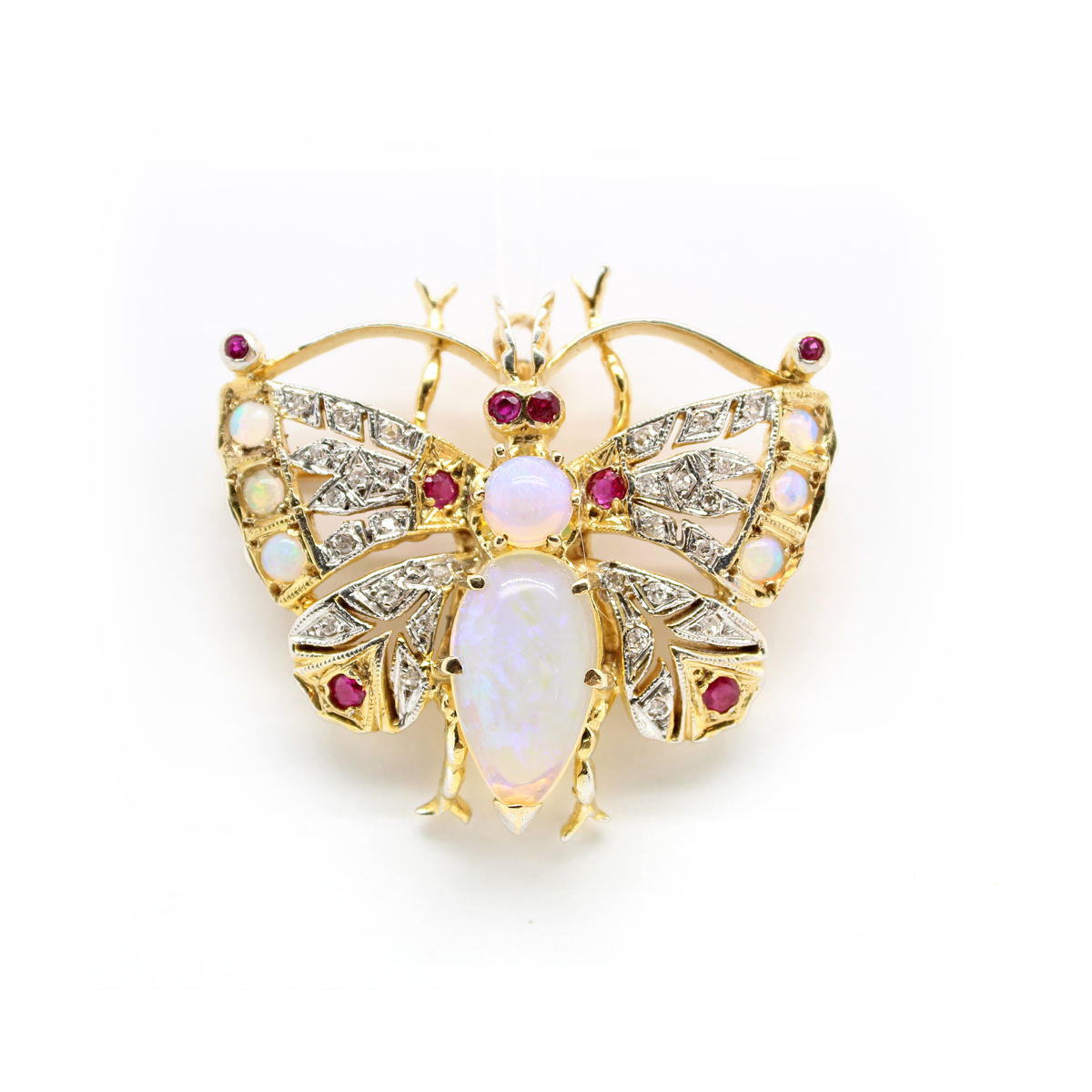 Vintage 14 Karat Yellow Gold Opal, Diamond and Ruby Butterfly Pin