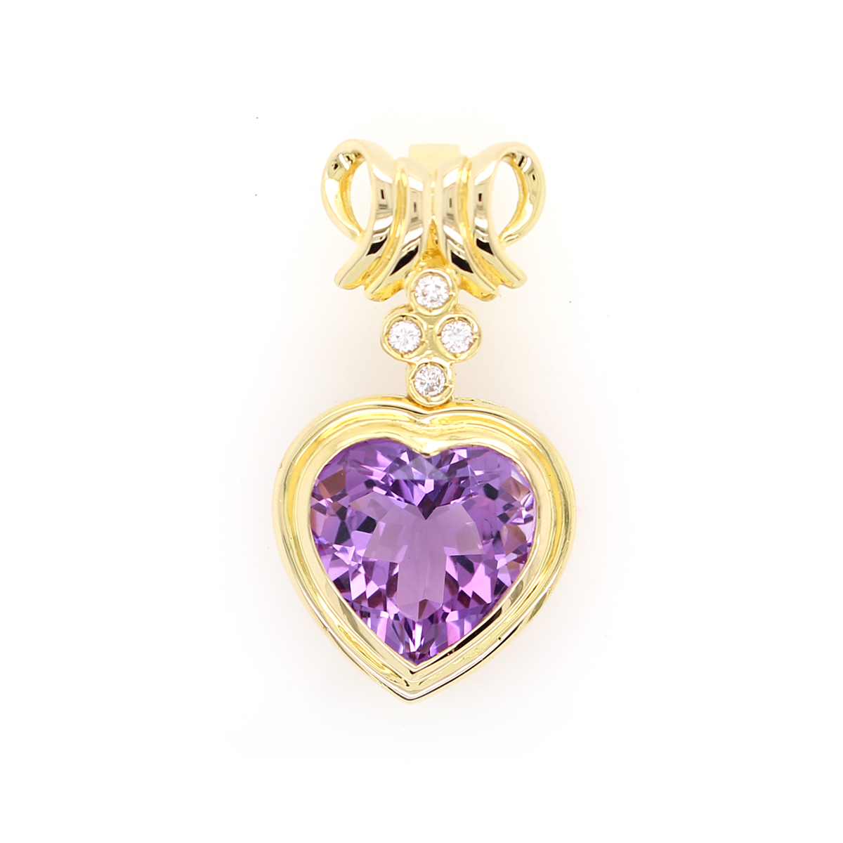 Vintage 18 Karat Yellow Gold Heart Shaped Amethyst and Diamond Pendant