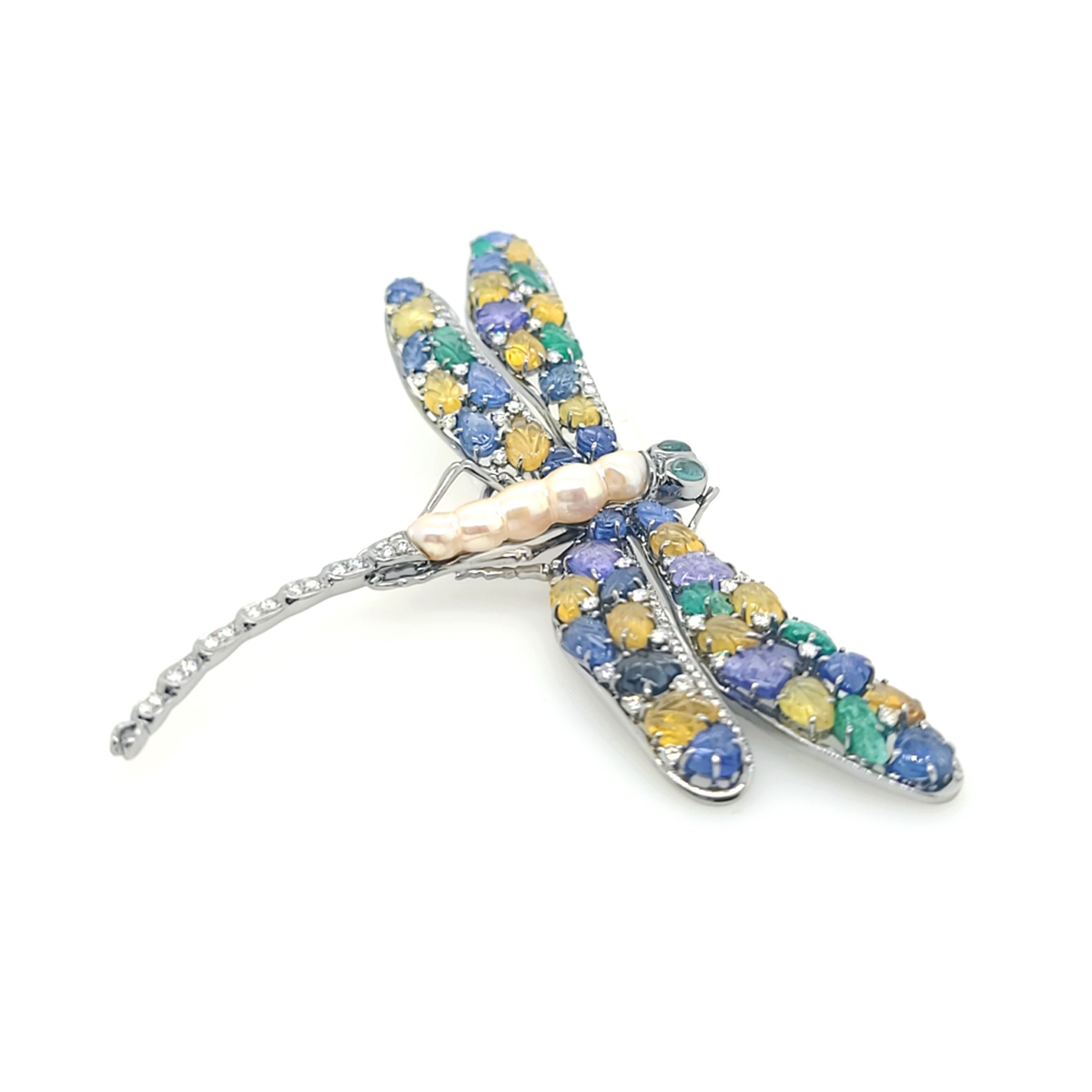 Vintage 18 Karat White Gold Sapphire, Emerald and Diamond Dragonfly Pin