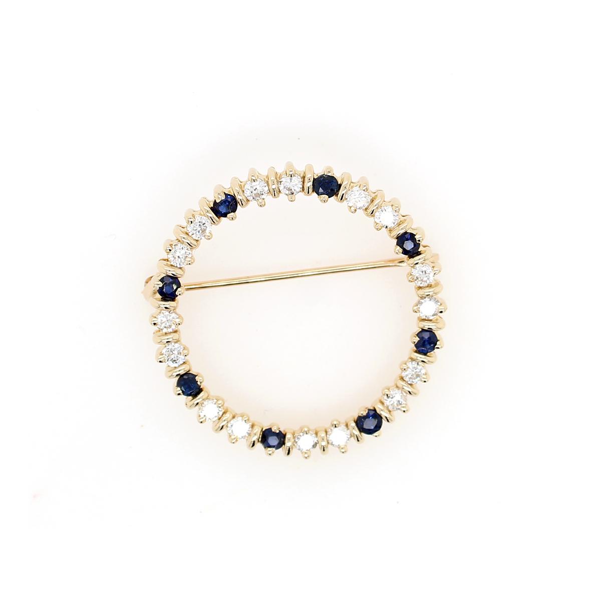 Vintage 14 Karat Yellow Gold Round Sapphire and Diamond Pin