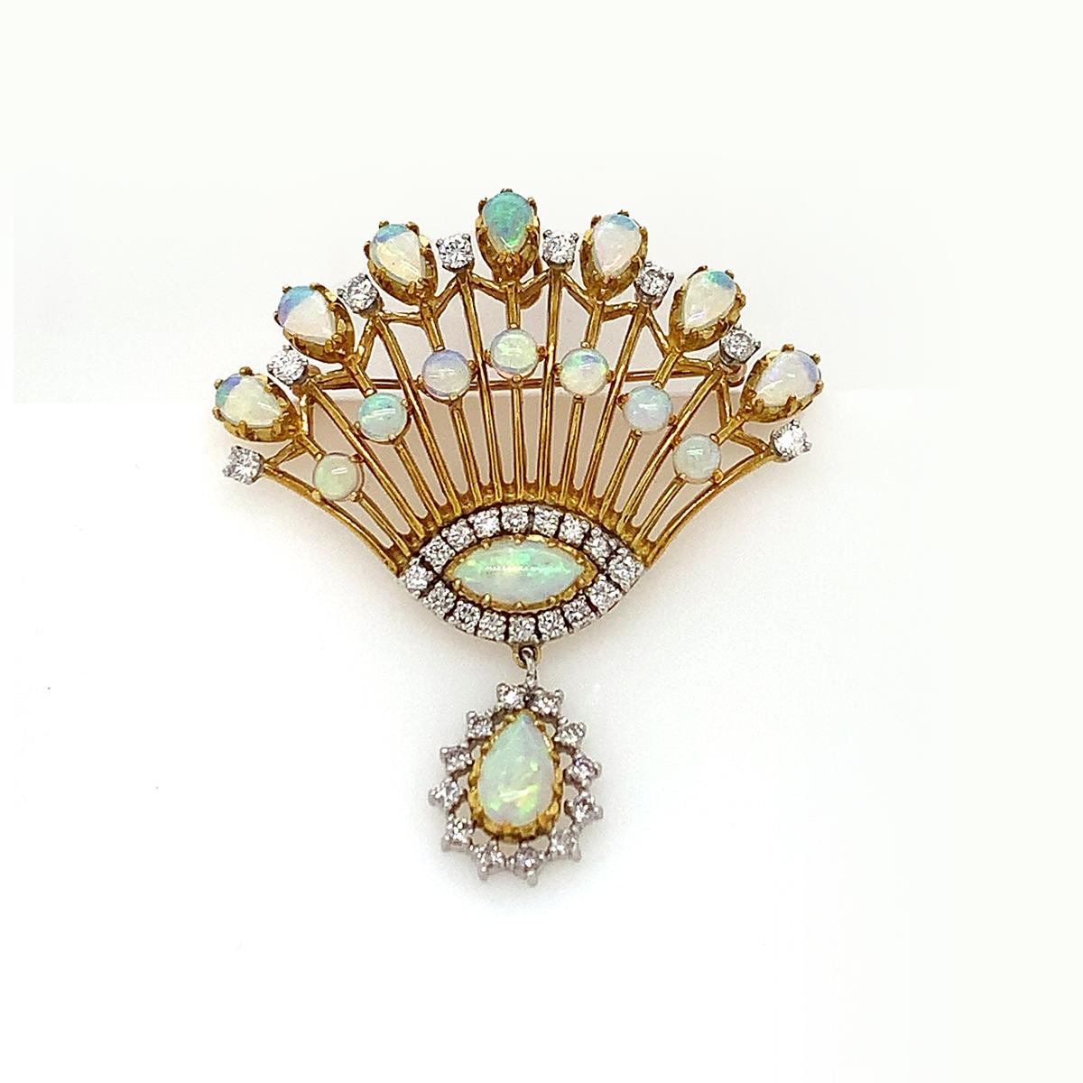 Vintage 14 Karat Yellow Gold Opal Fan Pin/Pendant