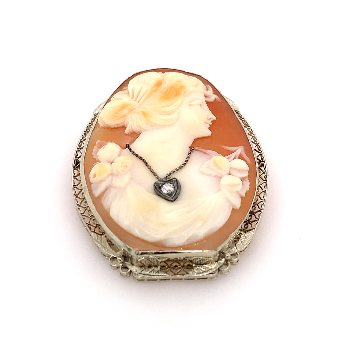 Vintage 14 Karat Yellow Gold Carved Cameo Pin and Pendant