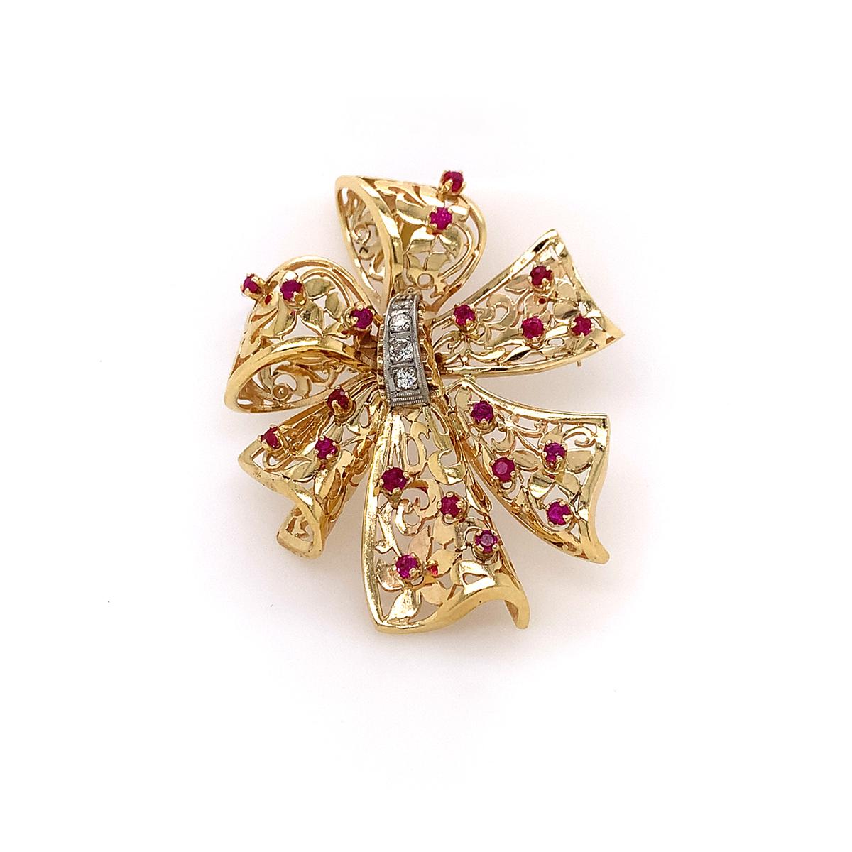 Vintage 14 Karat Yellow Gold Ruby and Diamond Bow Pin Pendant
