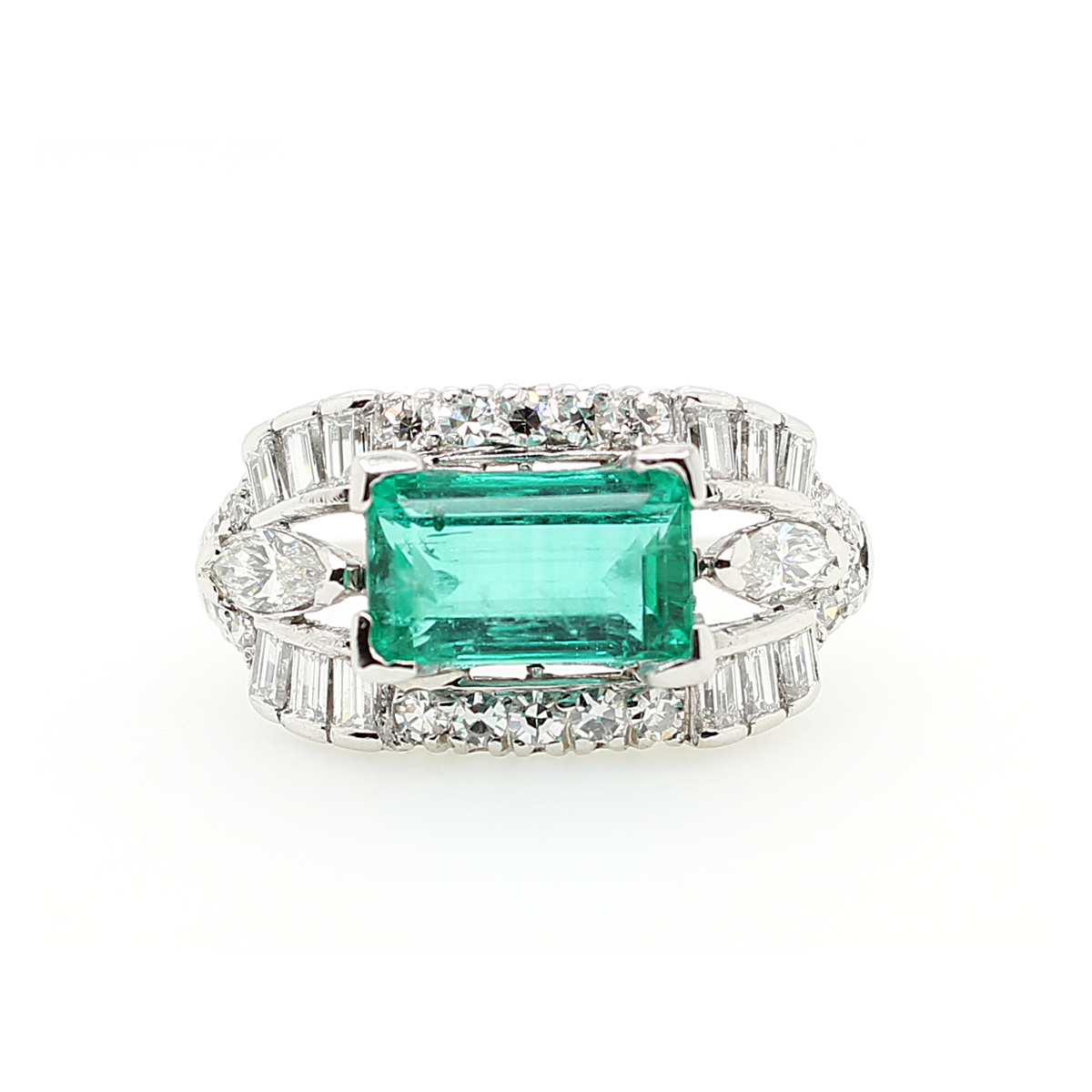 Vintage Platinum Rectangular Emerald and Diamond Ring