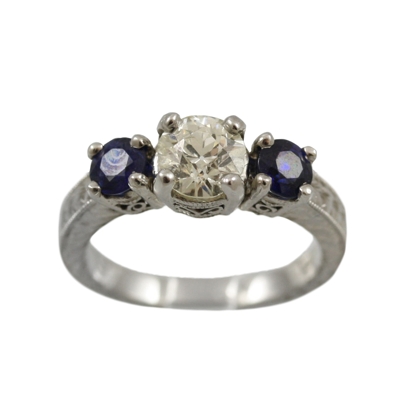 This Platinum Diamond And Sapphire Antique Reproduction Ring Is A Masterpiece.