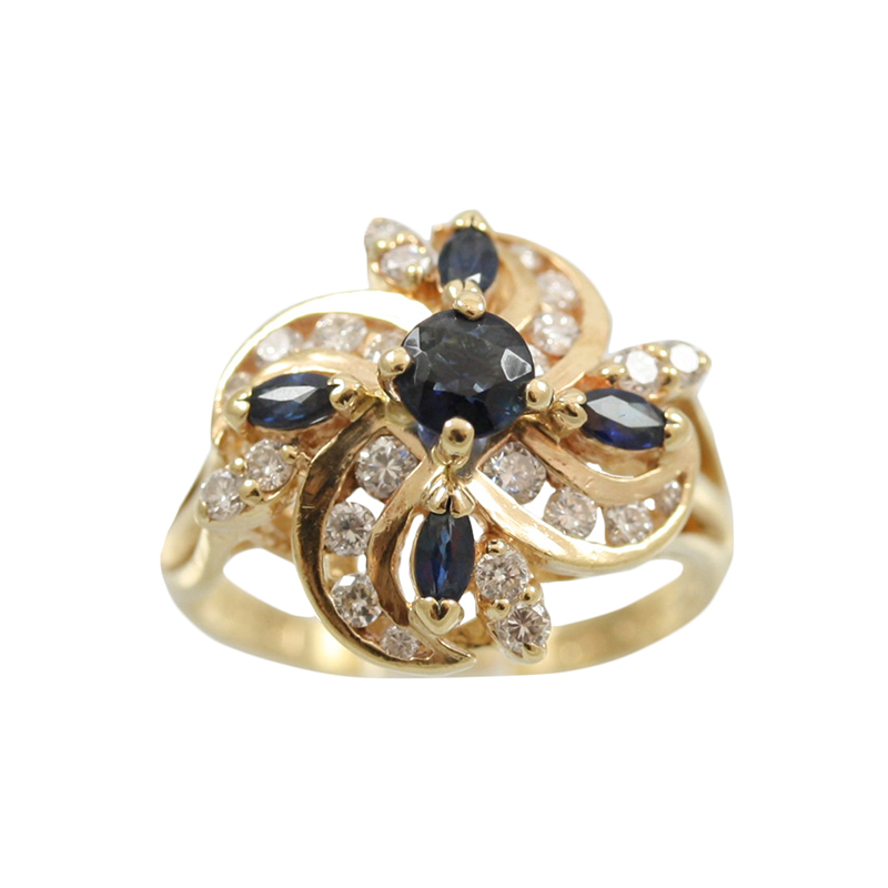 This 14 Karat Gold Sapphire And Diamond Ring Has An Elegant Style.
