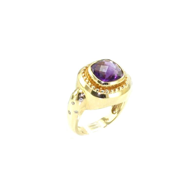 Estate 14 Karat Yellow gold,  amethyst and diamond ring.