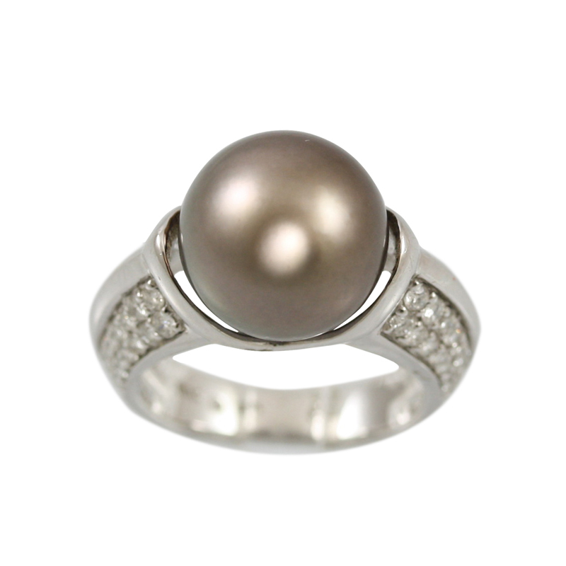 This 18 Karat White Gold Diamond And Tahitian Pearl Ring Makes A Strong Statement.