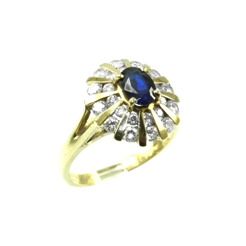 Estate 18 Karat yellow gold, sapphire and diamond ring.