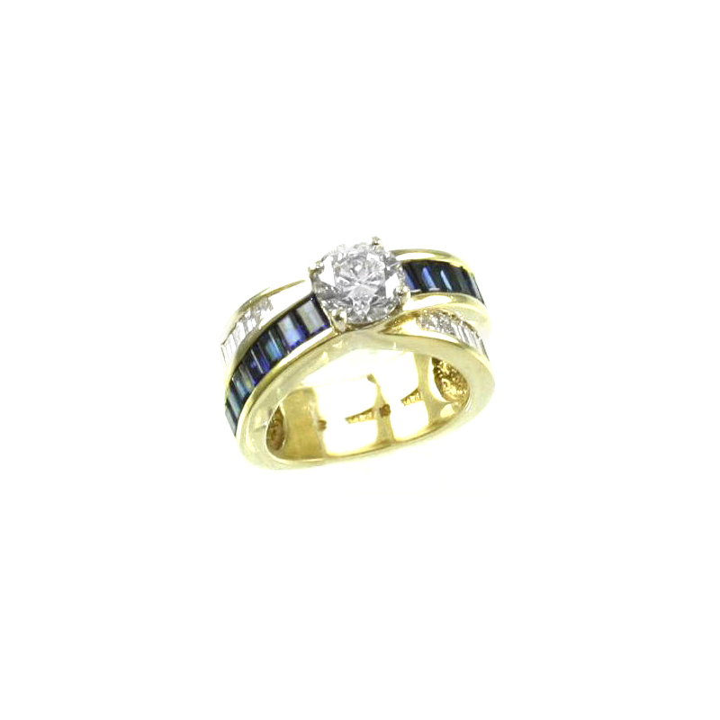 Estate 18 Karat yellow gold, diamond and sapphire ring.