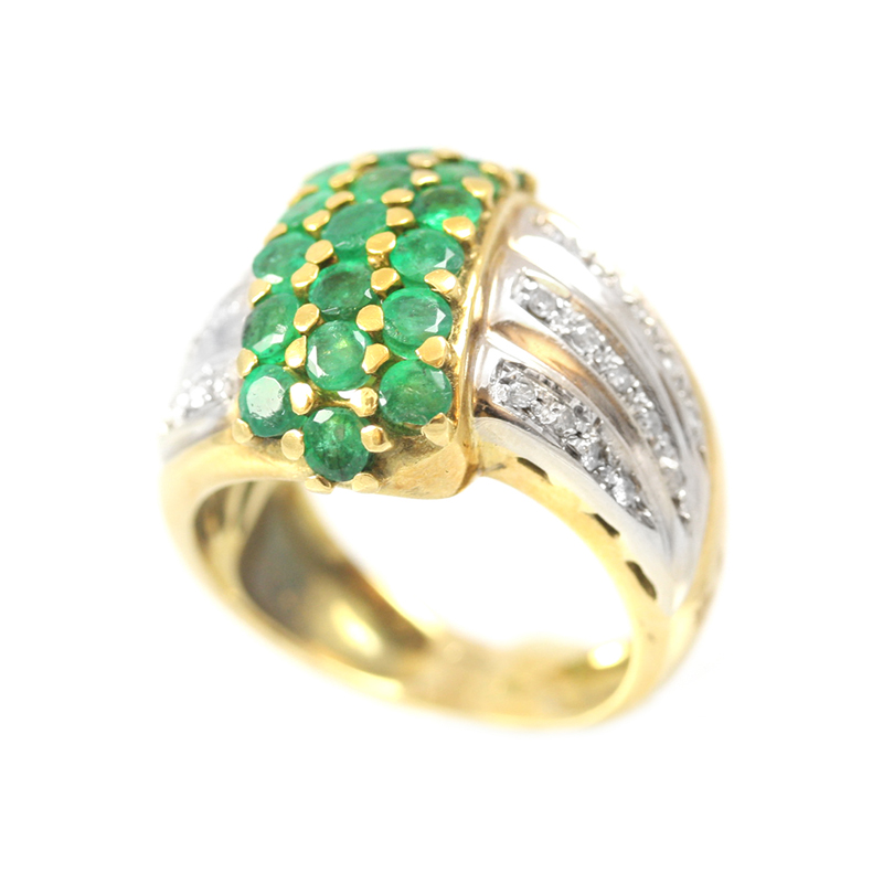 Vintage 18 Karat yellow and white gold, diamond and emerald ring.