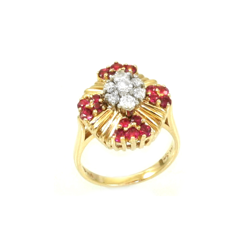 Estate 14 Karat yellow gold, diamond and ruby ring.
