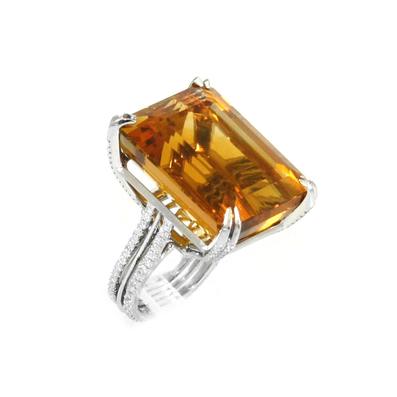 Vintage platinum, 18 karat yellow gold, citrine and diamond ring.