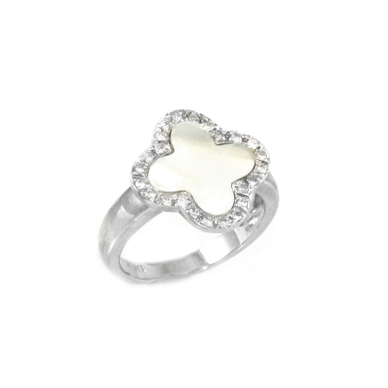 Vintage 14 Karat white gold, diamond and mother of pearl ring.