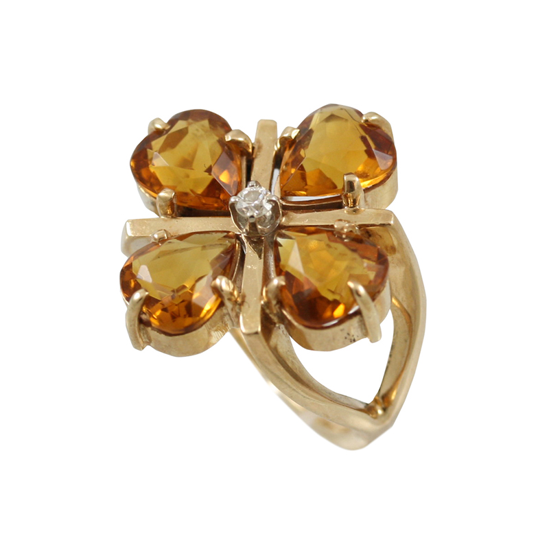 This Gorgeous 14 Karat Yellow Gold Citrine And Diamond Ring Is Elegantly Feminine.
