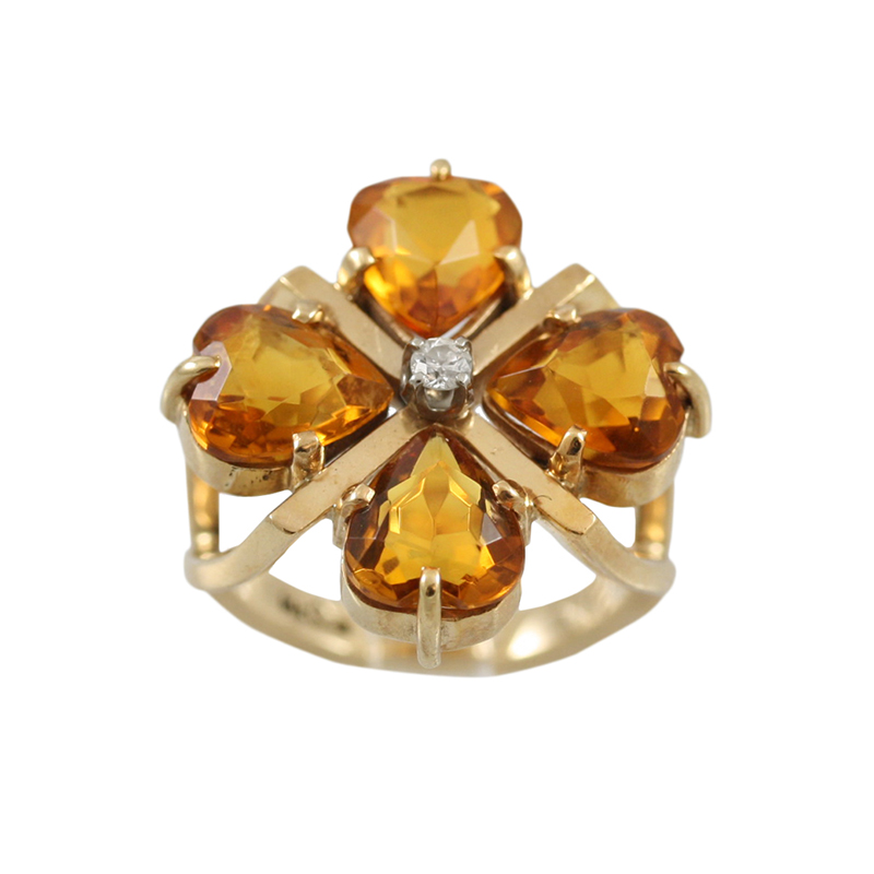 This Gorgeous 14 Karat Yellow Gold Citrine And Diamond Ring Is Elegantly Feminine.