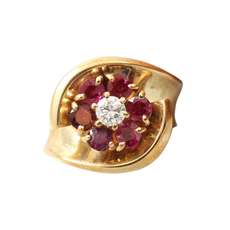 Elegant And Feminine This 14 Karat Yellow Gold Ruby And Diamond Ring Is An Attention Getter.