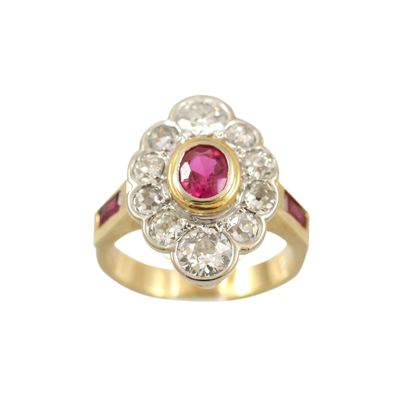 This Very Feminine 14 Karat Yellow Gold Diamond And Ruby Ring Is A Lovely Piece.
