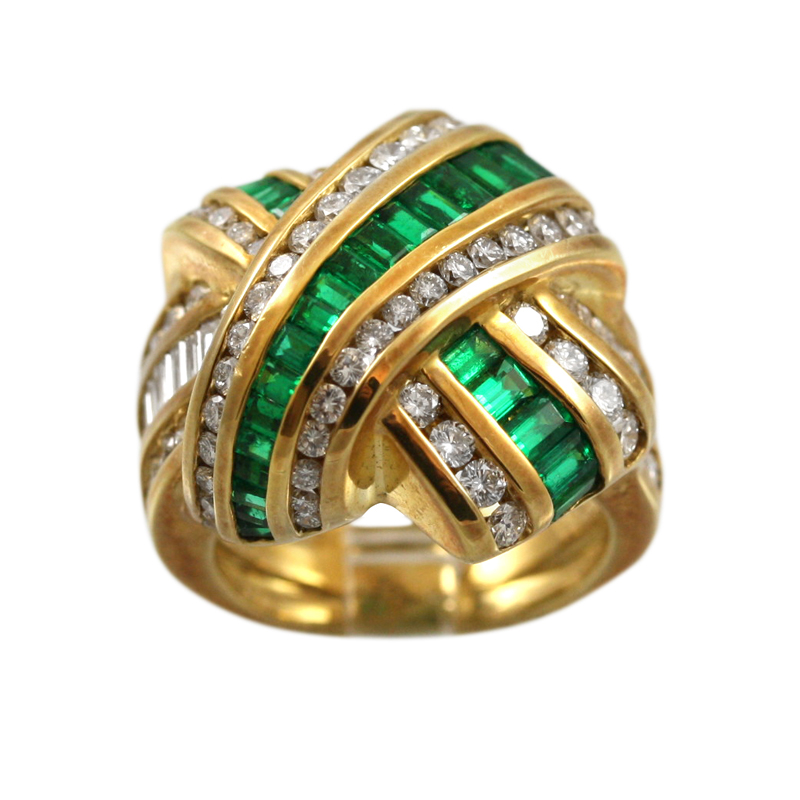 This Gorgeous Charles Krypell 18 Karat Yellow Gold Emerald And Diamond X Style Ring Gives A Strong Statement.