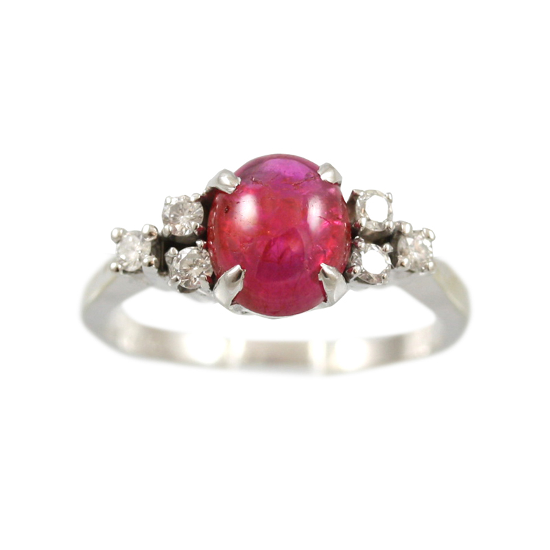 This 14 Karat White Gold Ruby And Diamond Ring Is Gorgeous.