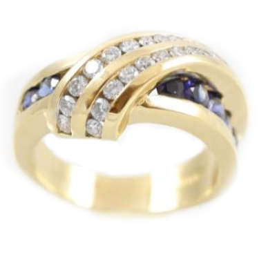 Estate Charles Krypell 18 Karat Yellow Gold Diamond and Sapphire Ring