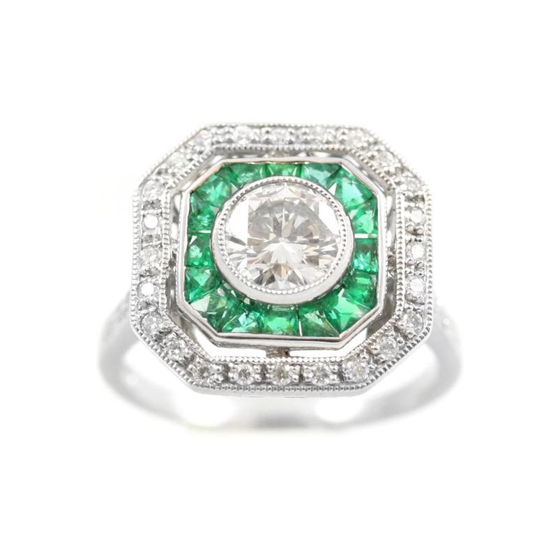 Estate Platinum, diamond and emerald ring.
