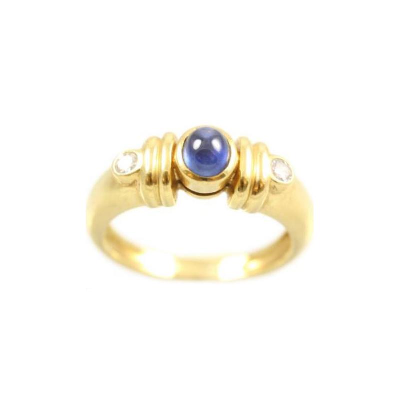 Estate 18 Karat yellow gold, diamond and sapphire ring.