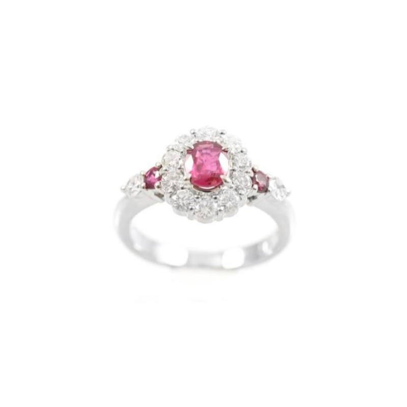 Vintage Kamsly platinum, diamond and ruby ring.