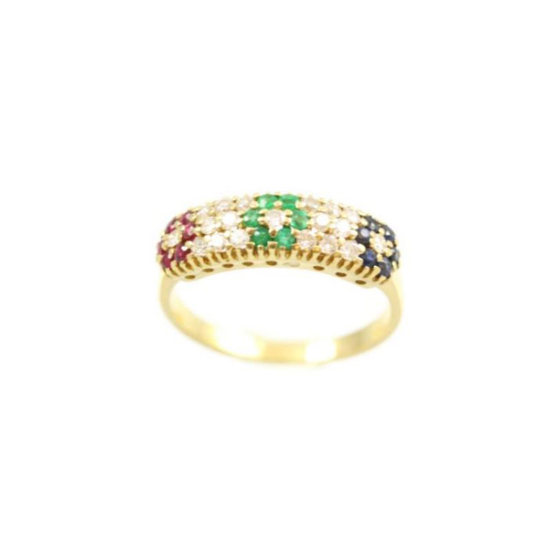 Estate Kamsly 18 Karat yellow gold, diamond, ruby, emerald and sapphire flower ring.