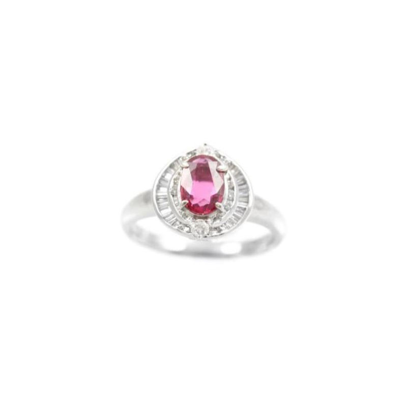 Estate platinum, diamond and ruby ring.