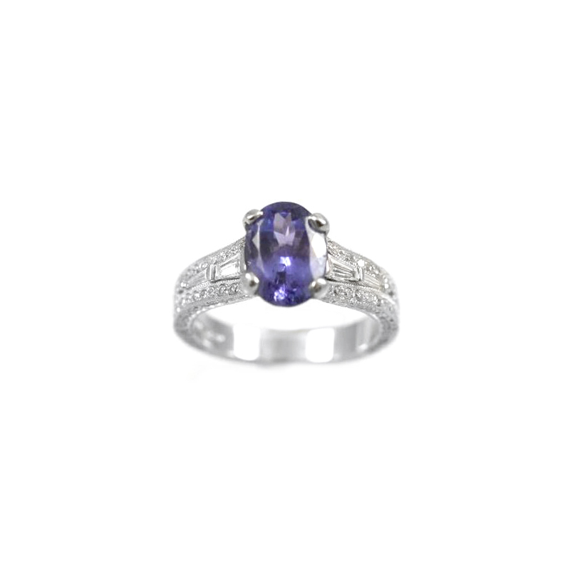 Vintage 18 Karat white gold, tanzanite and diamond ring.