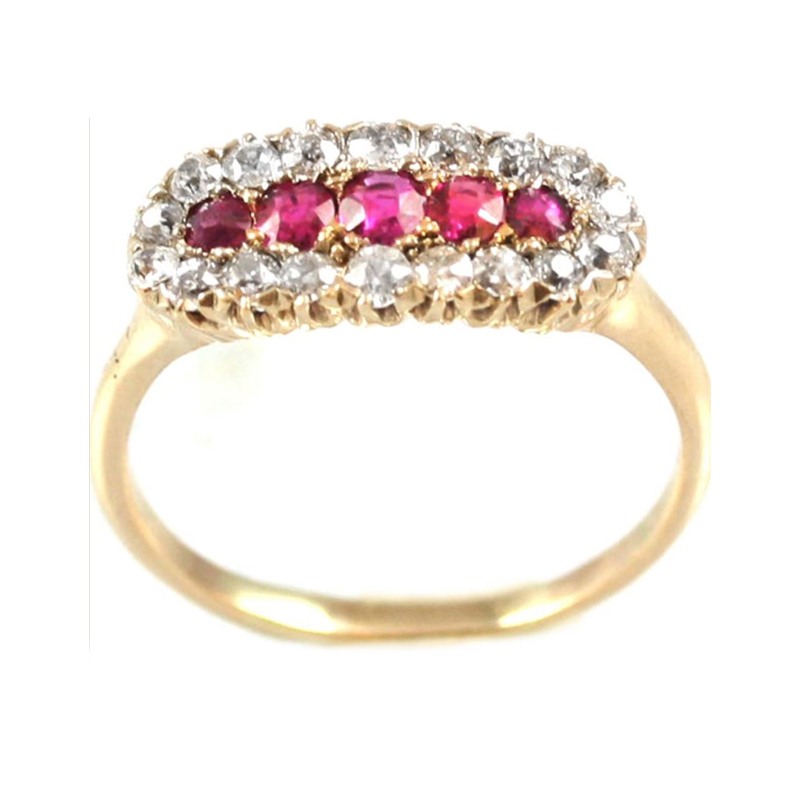 Estate 14 Karat rose gold, ruby and diamond Victorian style ring.