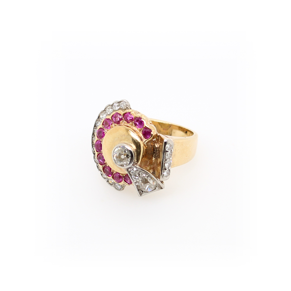 Vintage 14 Karat Yellow Gold Diamond and Ruby Ring