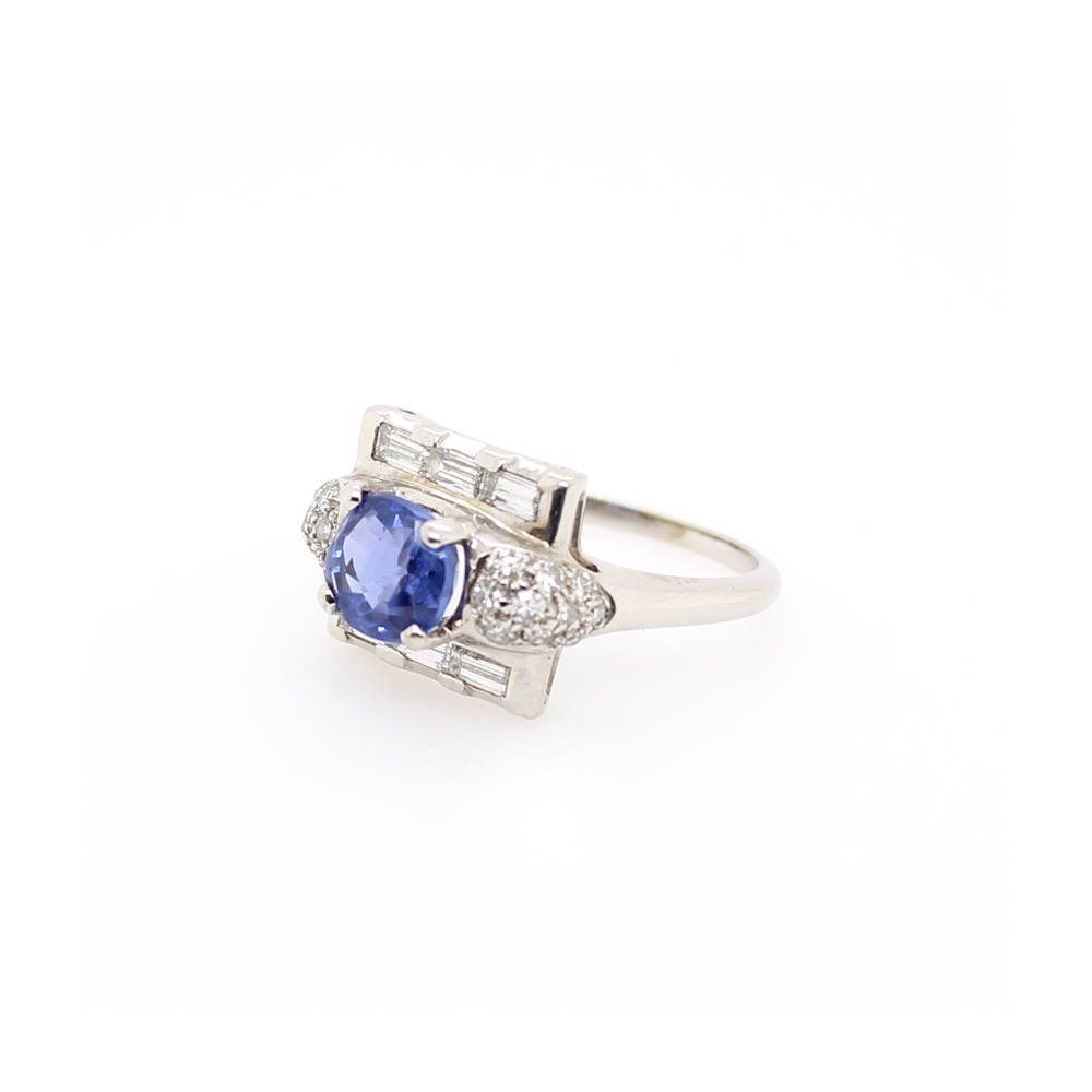 Estate 14 Karat White Gold Blue Sapphire and Diamond Ring