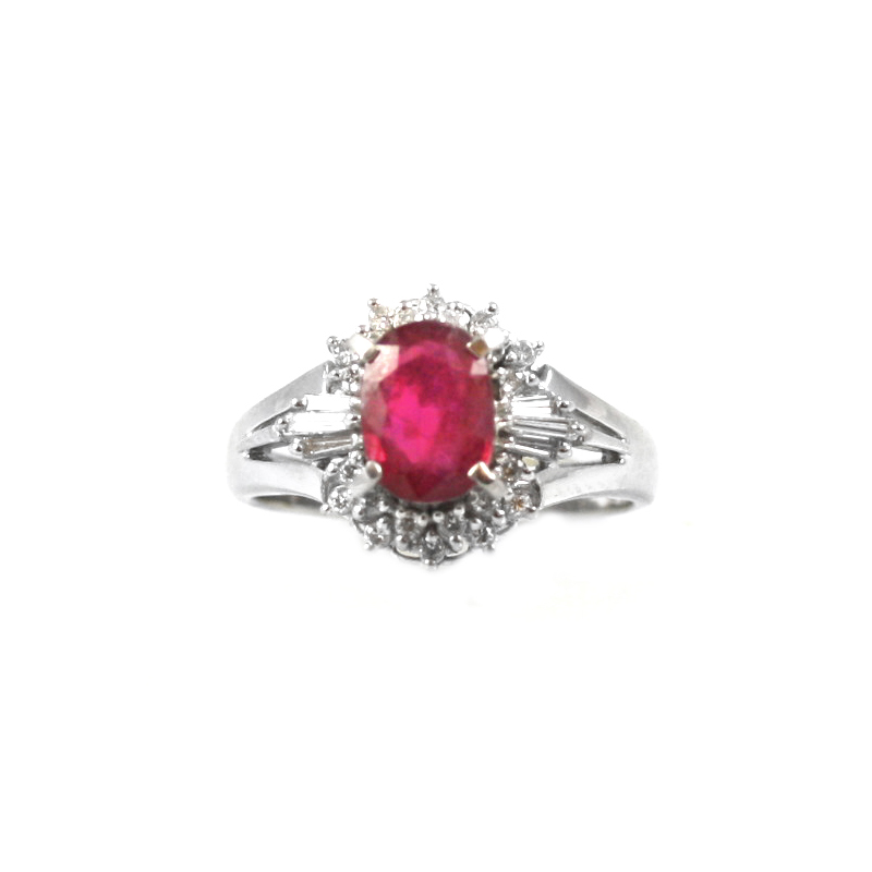 Estate platinum, ruby and diamond ring.