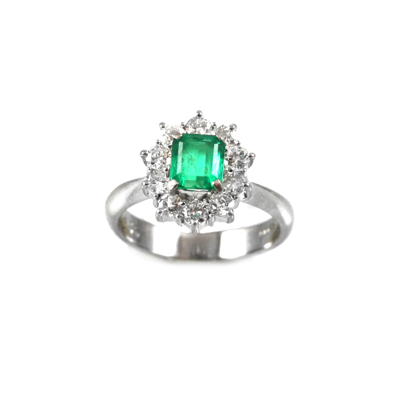 Vintage Platinum, emerald and diamond ring.