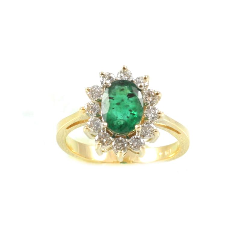 Estate 14 Karat yellow gold, emerald and diamond ring.