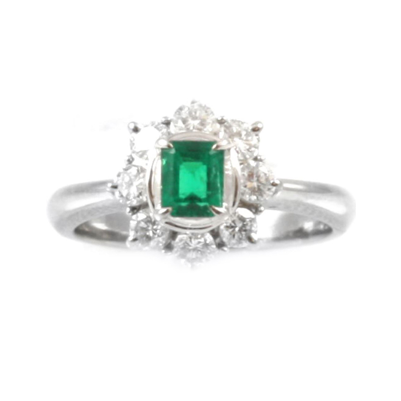 Estate platinum, emerald and diamond ring.