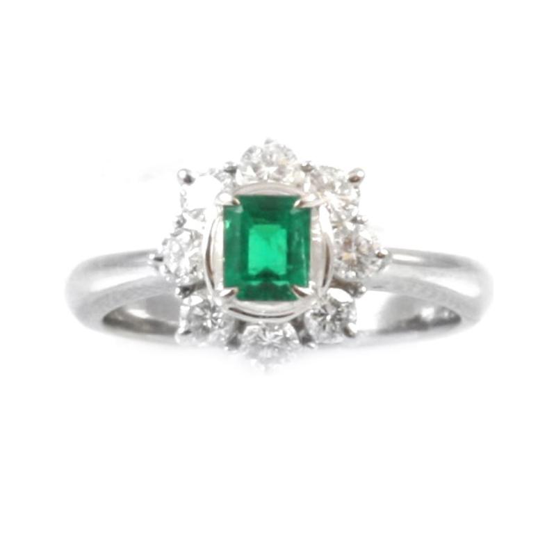 Vintage platinum, emerald and diamond ring.