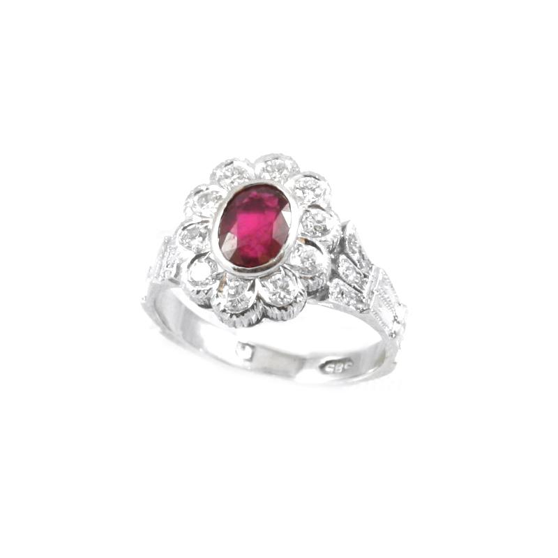 Estate 14 Karat white gold, ruby and diamond ring.