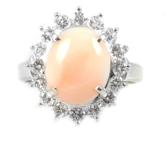 Vintage Platinum Cabochon Angel Skin Coral and Diamond Ring