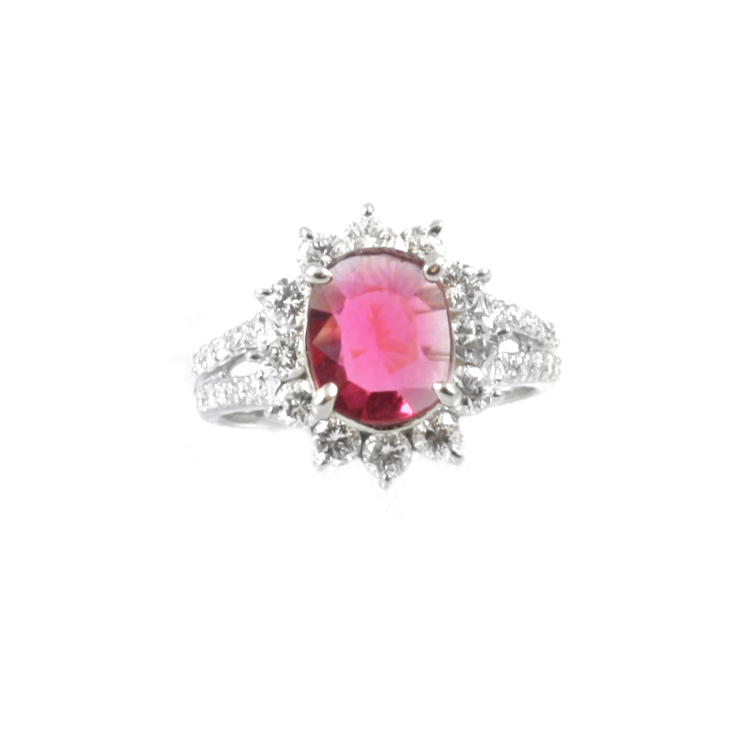 Vintage Platinum, ruby and diamond ring.