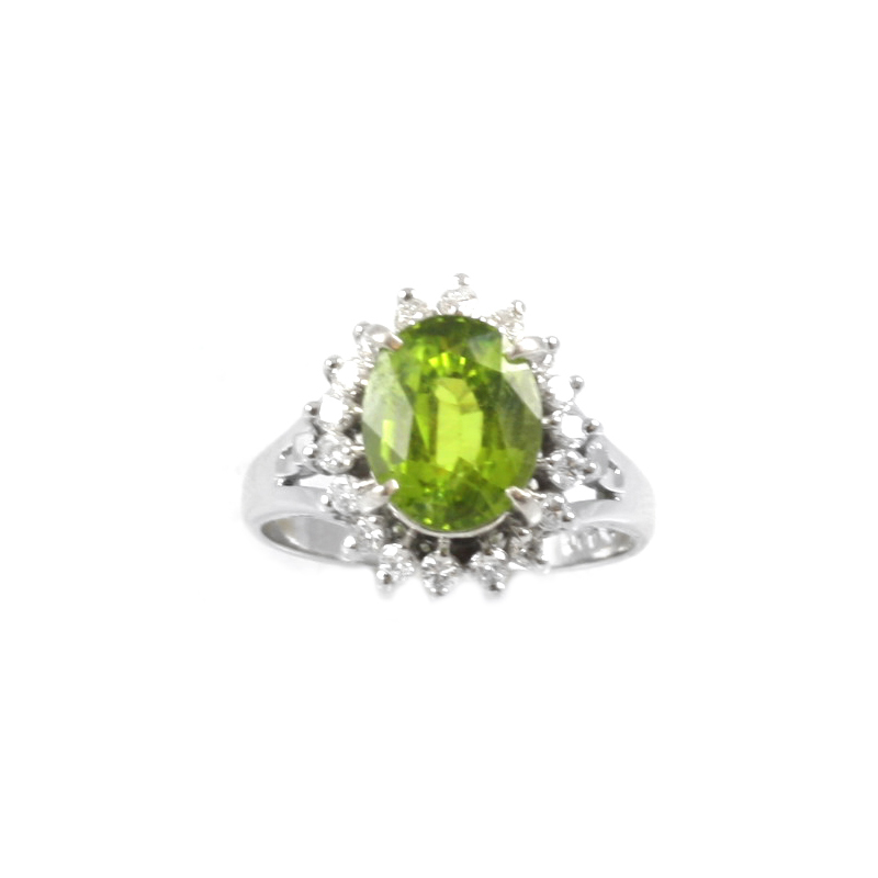 Estate platinum, peridot and diamond ring.