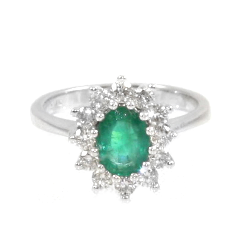 Estate 14 Karat white gold, emerald and diamond ring.