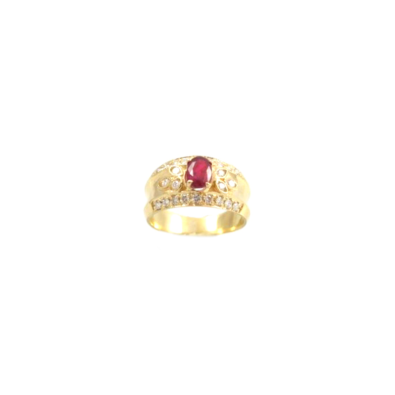 Estate 18 karat yellow gold, diamond and ruby ring.