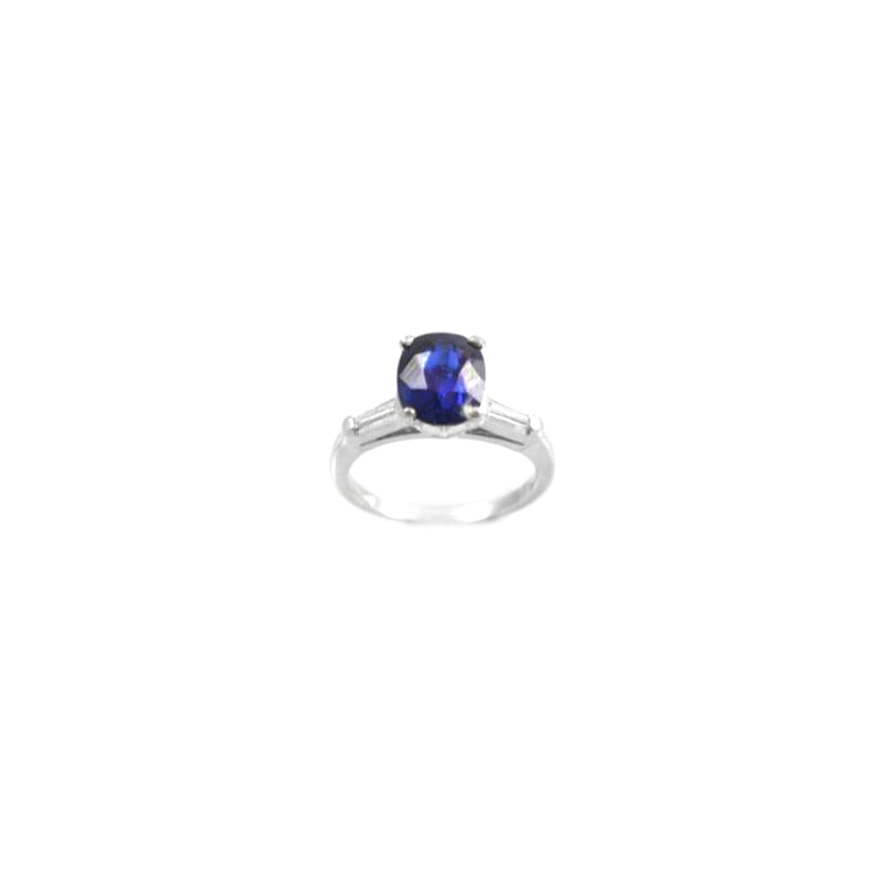Vintage platinum, natural blue sapphire and diamond ring.