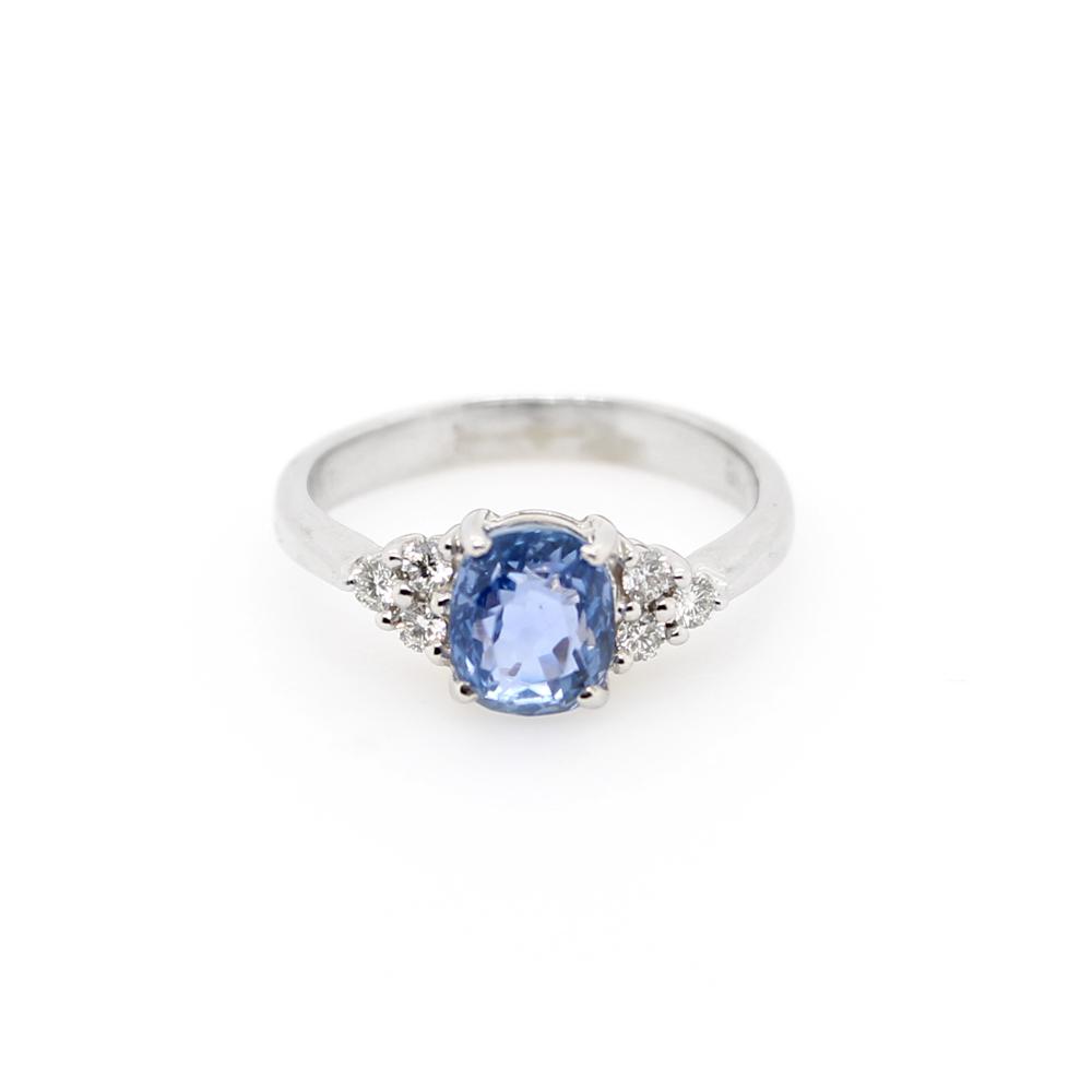 Vintage 14 Karat White Gold Diamond and Sapphire Ring