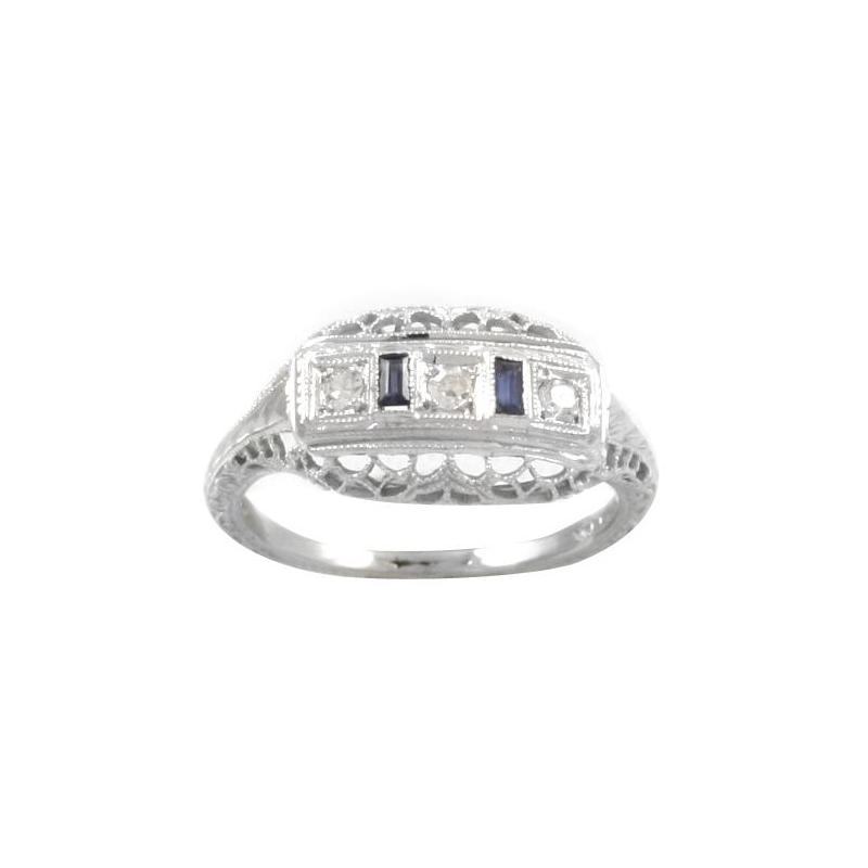 Estate 18 Karat White Gold Diamond and Sapphire Filigree Ring